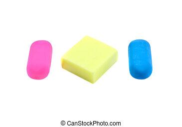 borradores, tres, coloreado