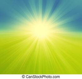 borroso, campo verde, y azul, cielo, con, verano, explosión del sol, retro, plano de fondo, pastel, tonos