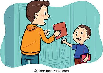 Borrowing A Book - A boy borrowing a book in the public ...