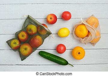 borsa, amichevole, eco, maglia, frutte, riutilizzabile, verdura