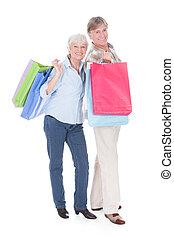 borsa, anziano, portante, shopping, coppia