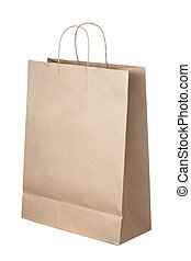 borsa, bianco, carta, isolato