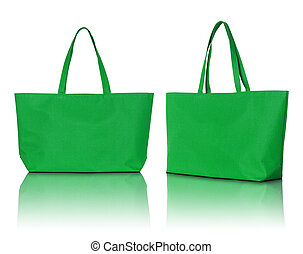 borsa, bianco, shopping, sfondo verde