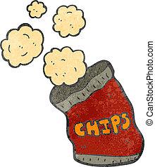borsa, cartone animato, patatine fritte, retro, patata