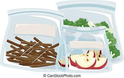 borsa, contenitore, cibo plastico