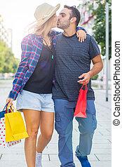 borsa, coppia, shopping, amore