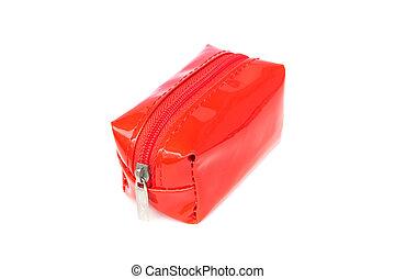 borsa, fondo, piccolo, bianco, chiusura lampo, rosso