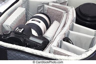 borsa, macchina fotografica, portatile