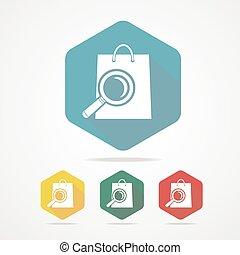 borsa, magnifier., shopping, isolato, icona