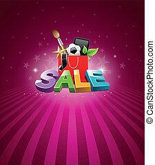borsa, messaggio, shopping, vendita
