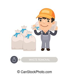 borsa, portante, lavoratore, immondizia, rifiuti