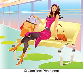 borsa, ragazza, moda, shopping