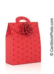 borsa, rosso, arco regalo