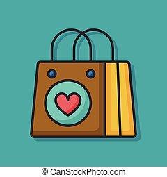borsa, shopping, icona