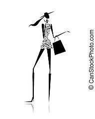borsa, silhouette, moda, shopping, ragazza