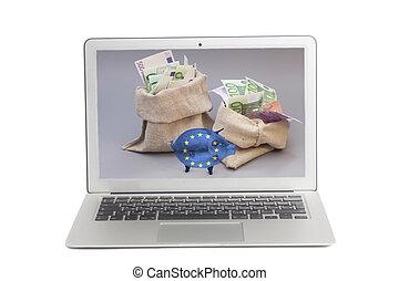 borsa, unione, soldi, laptop, due, vetro, bandiera, piggy, euro, schermo, banca, europeo