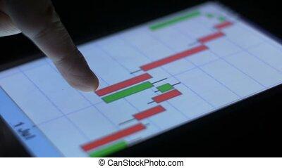 borsa valori, e, mercato, finanza, commercio, su, tavoletta, cuscinetto, grafico, e, grafico