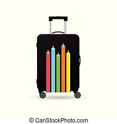 borsa, viaggiare, aeroplano, esso, illustrazione
