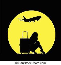 borsa, viaggiare, aeroplano, ragazza, illustrazione
