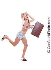 borsa, viaggiare, donna, vacanza