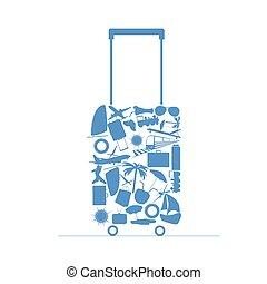 borsa, viaggiare, vettore, illustrazione