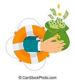 borsa, vita, mano, protrudes, buoy., soldi