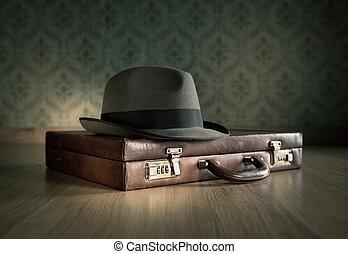 borsalino, hatt, och, portfölj