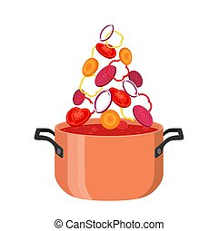 Borsch pot with ingredients. Red ukranian soup - borscht - with beet