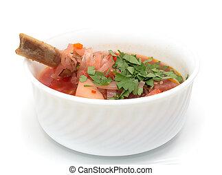 borscht, スープ, 白い背景