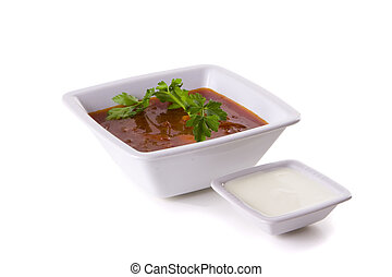 Borscht, Beet Soup - borscht in white bowl isolated on white