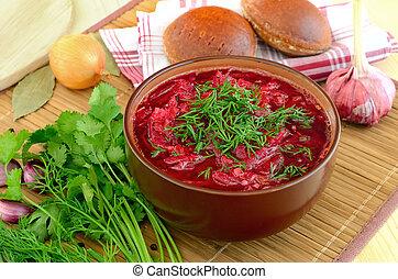 borscht, eneldo, rojo