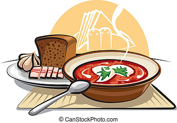 borscht soup and ham with garlic