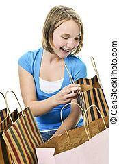 borse, adolescente, shopping, ragazza