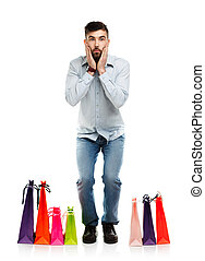 borse, bello, shopping, uomo