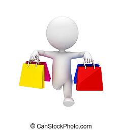 borse, bianco, 3d, shopping, persone
