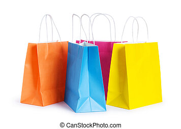 borse, bianco, shopping, isolato, fondo