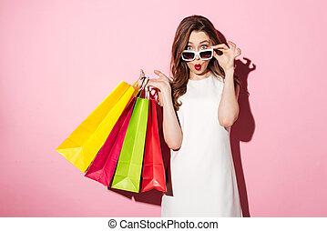 borse, brunetta, shopping, giovane, abbicare, signora