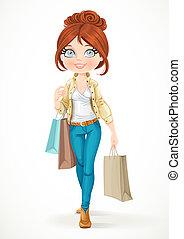 borse, brunetta, va, shopaholic, isolato, carta, fondo, ...