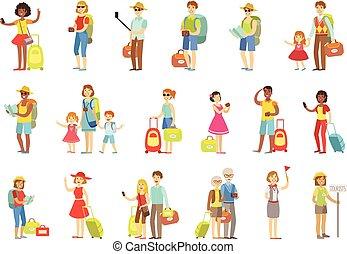 borse, cameras, set, turista, felice