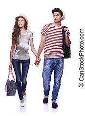 borse, camminare, viaggiare, coppia, giovane