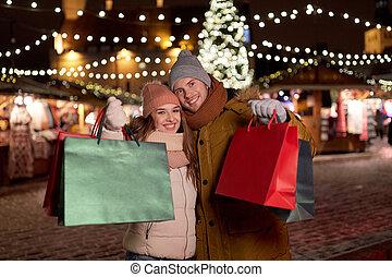 borse, coppia, shopping, inverno, felice