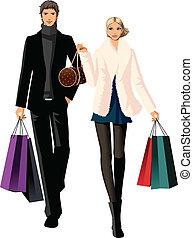 borse, coppia, shopping