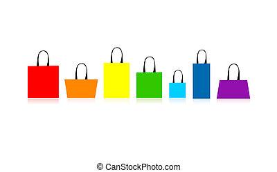 borse, disegno, shopping, isolato, tuo