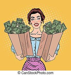 borse, donna, arte, presa a terra, illustr, soldi., pop, vettore, ricco, felice