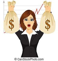 borse, donna d'affari, soldi, dollaro, due, presa a terra, grande