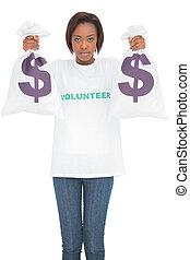 borse, donna, soldi, presa a terra, serio, volontario