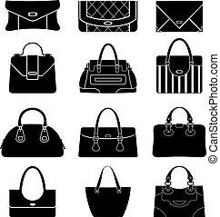 borse, femmina nera, icone
