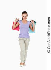 borse, femmina, shopping, giovane