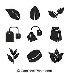 borse, foglia, icone, tè, set., vector.