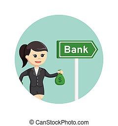 borse, fondo, soldi, andare, presa a terra, donna d'affari, cerchio, banca